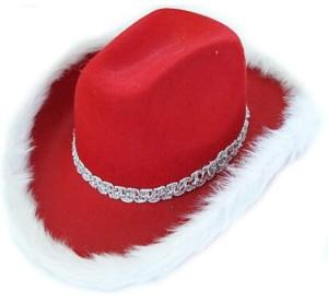 Kapelusze - Kapelusz Kowboj czerwony z białym puszkiem