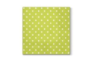 Serwetki Lunch 33x33 Jasno zielone w białe kropki
