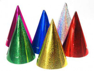 Czapeczki - Czapeczki urodzinowe holograficzne, holograficzne - mix kolorów / 10x17 cm
