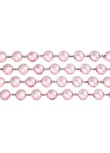 Girlanda kryształowa, j. różowy, 1m