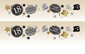 """Konfetti """"18 Urodziny"""", złoty-srebrny"""