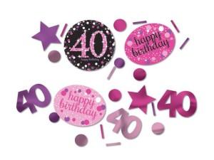 """Konfetti """"40 Urodziny"""", błyszczące, różowe"""