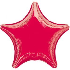 Balony foliowe Gwiazdki - Balon foliowy metalizowany - Gwiazda czerwona / 48 cm