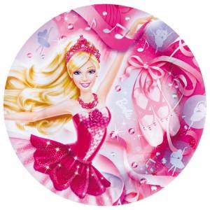 Talerze Barbie Różowe Pantofelki 23cm