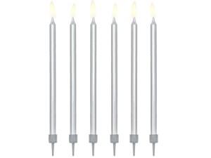 Świeczki urodzinowe gładkie, srebrny