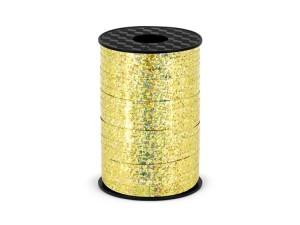 Wstążka plastikowa holograficzna, złota, 5mm/225m