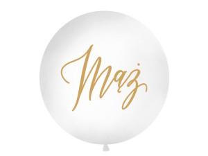 """Balony lateksowe Olbo - Balon lateksowy OLBO - biały ze złotym napisem """"Mąż"""" / średnica 1m"""