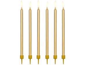 Świeczki urodzinowe gładkie, złoty