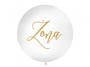 """Balony lateksowe Olbo - Balon lateksowy OLBO - biały ze złotym napisem """"Żona"""" / średnica 1m"""