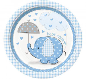 """Talerzyki papierowe """"Baby Shower - Słonik"""", 23 cm, niebieskie, 8 szt."""