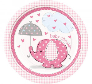 """Talerzyki papierowe """"Baby Shower - Słonik"""", różowe, 23 cm, 8 szt."""