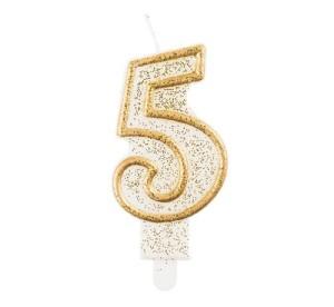 """Świeczka cyferka """"5"""", złoty kontur"""