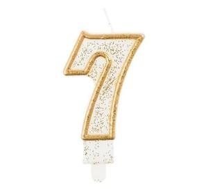 """Świeczka cyferka """"7"""", złoty kontur"""