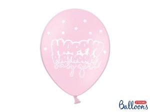 """Balony lateksowe z napisami - Balony urodzinowe z napisem """"Happy Birthday Baby Girl"""" / SB14P-211-081J-6"""