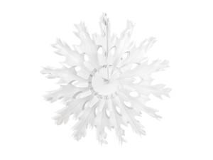 Dekoracje papierowe - Rozeta bibułowa Śnieżynka, biała- 45cm