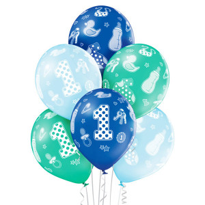 Balony lateksowe cyfry i liczby - Balony urodzinowe na Roczek dla chłopca