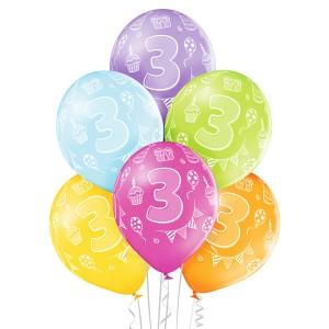 Balony lateksowe cyfry i liczby - Balony na 3 urodziny / 5000193