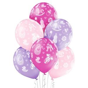 """Balony lateksowe z nadrukiem - Balony na Narodziny dziecka lateksowe """"Shower Baby Girl"""""""