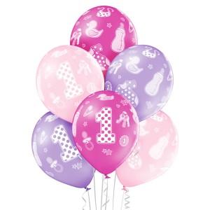 Balony lateksowe cyfry i liczby - Balony urodzinowe na Roczek dla dziewczynki