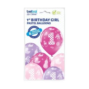 Zestaw balonów lateksowych 1 Urodziny dziewczynki