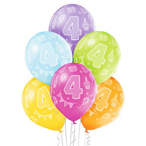 Balony lateksowe cyfry i liczby - Balony na 4 urodziny / 5000194