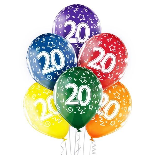 Balony na 20 urodziny, balony na dwudziestkę, cyfry 20