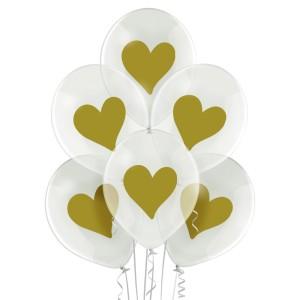 """Balony lateksowe w serduszka - Balony lateksowe """"Złote serce"""""""