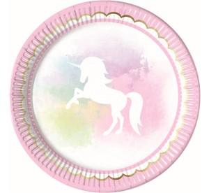 """Talerzyki z nadrukiem - Talerzyki papierowe """"Believe in Unicorns"""", 23 cm / 89345"""