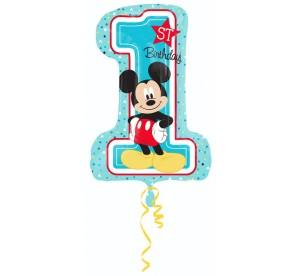 """Balony foliowe z cyframi i liczbami - Balon na Roczek z Myszką Mickey cyferka """"1"""" / 48x71 cm"""