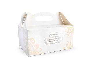 Ozdobne pudełka na ciasto weselne z ornamentem