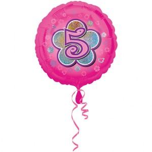 """Balony foliowe z cyframi i liczbami - Balon foliowy na """"5 urodziny - Kwiat"""" / 45 cm"""