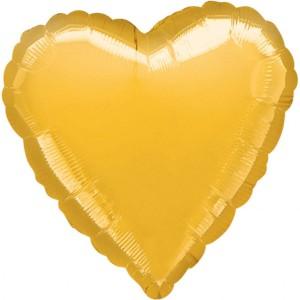 Balony foliowe Serca - Balon foliowy metalizowany - Serce złote / 43 cm
