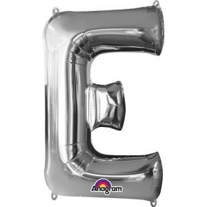 """Balon foliowy Super kształt litera """"E"""", srebrny, 53x81 cm"""
