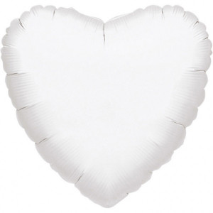 Balony foliowe Serca - Balon foliowy metalizowany - Serce białe / 43 cm