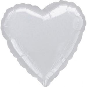 Balony foliowe Serca - Balon foliowy metalizowany - Serce srebrny / 43 cm