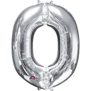 "Balon foliowy Super kształt litera ""O"", srebrny, 66x83 cm"