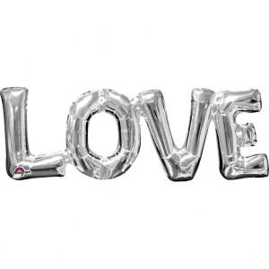 "Balon foliowy super kształt ""Love"", srebrny, 63x22 cm"