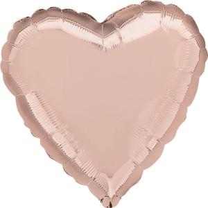 Balony foliowe Serca - Balon foliowy metalizowany - Serce różowe złoto / 43 cm