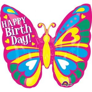 """Balon foliowy super kształt """"Urodziny - motyl"""" 63x63 cm"""