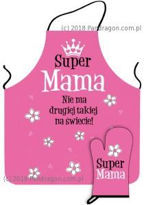 """Prezenty dla Mamy - Zestaw fartuch i rękawica """"Super Mama"""""""