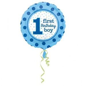 """Balon foliowy standard """" 1 urodziny- Chłopiec"""", 43cm, okrągły"""