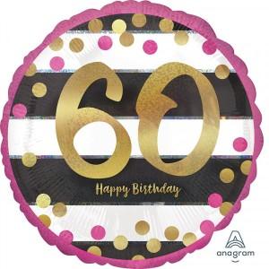 """Balon foliowy standard """"Pink & Gold Milestone 60"""", okrągły, holograficzny"""