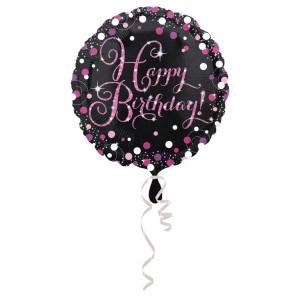 """Balon foliowy """"Happy Birthday"""", okrągły, 43cm"""