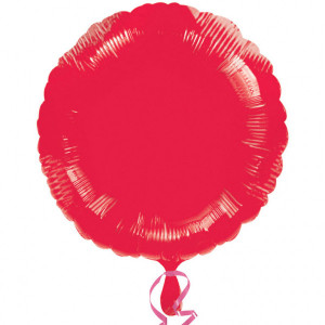 Balon foliowy czerwony metalik, okrągły 43cm