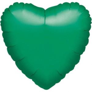 Balony foliowe Serca - Balon foliowy metalizowany - Serce zielone / 43 cm