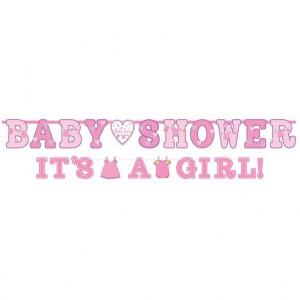 "Baner z napisem ""Baby Shower It's a girl"""