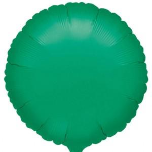 Balon foliowy zielony metalik, okrągły 43cm