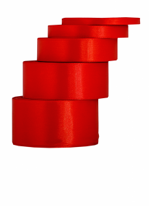 Tasiemki satynowe 25 mm - Wstążka satynowa 25mm/32mb czerwona