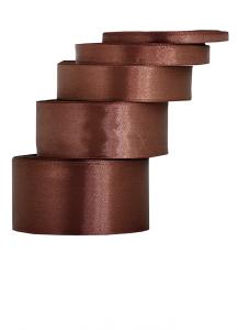 Tasiemki satynowe 12 mm - Wstążka satynowa czekoladowa / 12mmx32m