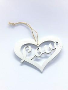 Serce białe z zawieszką